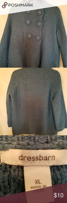 Dress barn women's sweater Women's sweater  Brand dress barn  Size xl  Buttons at top of sweater.  Color blue  Gently used  Machine washable cold gentle  cycle. Dress Barn Sweaters Shrugs & Ponchos