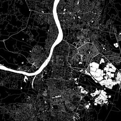 Highly detailed art map for infographic background. White streets, railways and water on black. Bigger bridges with outlines. This map will show only basic shapes for landmarks and traffic. Urban Mapping, India Map, Map Vector, Detail Art, City Maps, Kolkata, Map Art, Bridges, Infographic