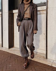 The Dark Grey Mens Blazer & Grey Belted Pleated Pants as seen on @modedamour