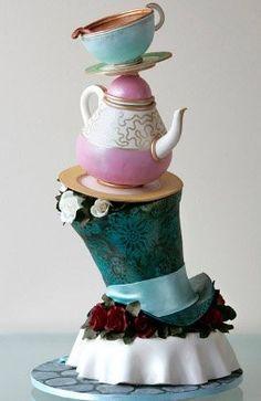 Steampunk Alice in wonderland cake.