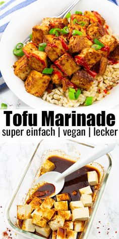 You think tofu is boring and has a plain taste? Then try this tofu marinade! It'… You think tofu is boring and has a plain taste? Then try this tofu marinade! It's super easy to make and it's packed with flavor. I love serving my marinated tofu over brown Vegan Recipes Easy, Lunch Recipes, Whole Food Recipes, Cooking Recipes, Vegan Recipes With Rice, Summer Recipes, Tofu Dinner Recipes, Fast Recipes, Grilling Recipes