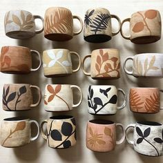 Im pleased as a peach about this collection of mugs. Theres a few new slip colors in there and some new plant shapes. Ceramic Plates, Ceramic Pottery, Pottery Art, Ceramics Pottery Mugs, Pottery Houses, Glazed Pottery, Slab Pottery, Pottery Painting Designs, Pottery Designs