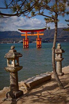 Miyajima Torii Japan (Miyajimacho, Hatsukaichi, Hiroshima Prefecture - island southwest of Hiroshima) Places Around The World, Oh The Places You'll Go, Places To Visit, Around The Worlds, Beautiful World, Beautiful Places, Go To Japan, Japan Japan, Miyajima