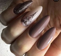 and Beautiful Nail Art Designs Nude Nails, Pink Nails, Glitter Nails, Romantic Nails, Lavender Nails, Almond Acrylic Nails, Geometric Nail, Beauty Nails, Beauty Art