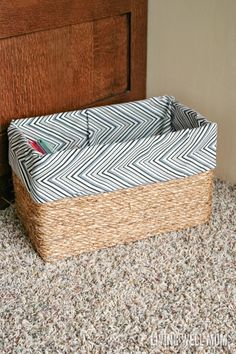 How to make a basket out of an ordinary cardboard box - this simple DIY project costs less than $5 in supplies and doesn't require any sewing. The result is a beautiful lined basket!