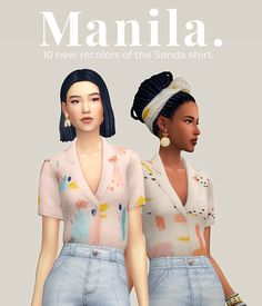 Manila – 10 new recolors of the Sonda shirt by joliebean when i first saw the original shirt, i immediately thought of summer in the philippines. idk, but that reason alone made the shirt one of… Sims 4 Cc Packs, Sims 4 Mm Cc, Sims Four, Sims 4 Mods Clothes, Sims 4 Clothing, Maxis, Vêtement Harris Tweed, Sims 4 Game Mods, Sims 4 Gameplay