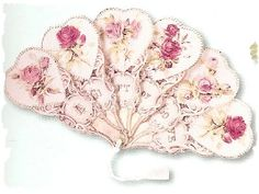 Victorian Fan Greeting Card Hearts and Roses