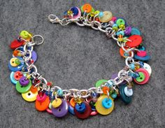 Button Charm Bracelet - Bright Colorful Multicolored Rainbow by randomcreative on Etsy