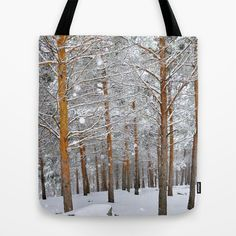 Deep forest. Snow Tote Bag by Guido Montañés - $22.00