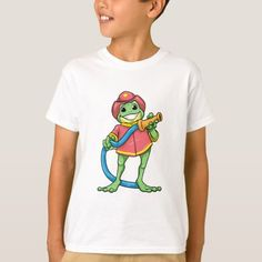 Funny frog as a firefighter with a hose T-Shirt  firefighter gift ideas, firefighter art preschool, firefighter costume idea #tshirtsofinstagram #kidsclothes #girlsclothes
