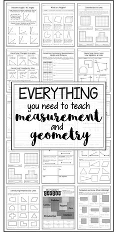 Everything you need to teach measurement and geometry in fourth grade. Aligned to the common core standards. Also great for third and fourth grade!
