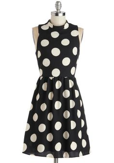 Spotted Downtown Dress: Whos that girl treating the city sidewalks like her own personal runway? Its you  of course  rocking this polka-dotted dress! Cream-colored spots blanket the bl…    #1960s #60s #Retro #Vintage #Black, #ModCloth, #SpottedDowntownDress