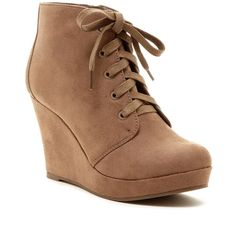 Rampage Serenity Wedge Bootie ($40) ❤ liked on Polyvore featuring shoes, boots, ankle booties, wedges, ankle boots, taupe faux suede, platform booties, lace up platform bootie, wedge booties and lace up wedge ankle booties
