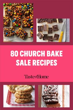 A good old-fashioned church bake sale is hard to beat. These heavenly cookies, bars, breads and pies will inspire you to bake up a few batches of the delicious money-makers at home. Bake Sale Recipes, Bar Recipes, Chocolate Glaze, Chocolate Peanuts, Delicious Cookie Recipes, Yummy Cookies, Strawberry Oatmeal, Potluck Desserts, Pecan Pie Bars