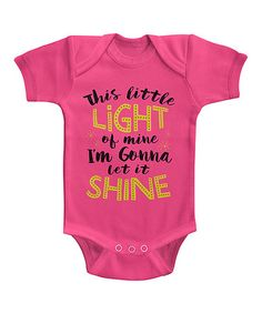 Loving this Hot Pink & Black 'This Little Light Of Mine' Bodysuit - Infant on #zulily! #zulilyfinds