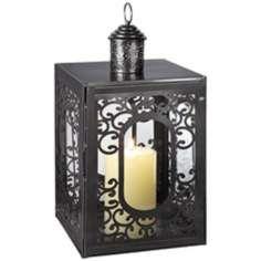 "Matte Nickel 16"" High Lantern Candle Holder"