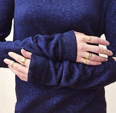 Beanie Major from In Detail Blog. Cashmere details and gold rings, featuring the Dinny Hall Wave rings in 22k Gold Vermeil.