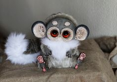 """8 inches tall fabric fur + fimo c l ay parts just one more comission doll from my """"Tiny Griffins"""" series"""