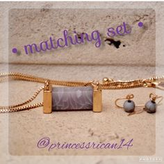 """•Gray Stone // Purple Marble Necklace & Earrings• • Color : Gold !                                                                    • Material : Sturdy Chain.                                                         • Necklace Size : 17.5"""" x 3"""" L - Pendant Size : 1.1"""" x 0.5"""" - Earrings Size : 0.8"""" L.                                                                                                  • Price is FIRM ! Ships out immediately !! Farah Jewelry Jewelry Necklaces"""