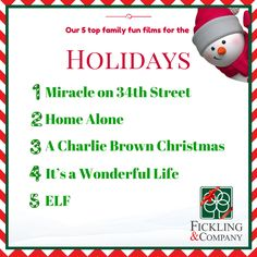 The #holidays go hand-in-hand with visiting #family members. Why not watch your favorite #holiday film, right? Here are our top five #holidayfilms. What are yours? #ficklingandco #familyfun #familymovies #happyholidays
