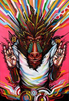by Kenta Torii Art Pop, Psychedelic Art, Monkey Illustration, Monkey Art, Psy Art, Dope Art, Painting Inspiration, Amazing Art, Vector Art