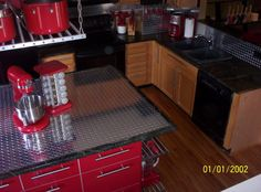 Diamond Plate Kitchen- great for a basement bar area