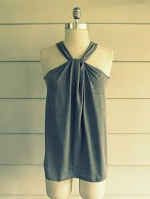 Wobisobi: No Sew, Tee-Shirt Halter #3, DIY good way to updo jeffs old t shirts.. going to love this for summer..