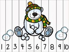 Winter Fun Counting Number Puzzles - Kindergarten Smarts - www. Counting Puzzles, Number Puzzles, Maths Puzzles, Math Games, Preschool Activities, Polar Animals, Winter Kids, Winter Activities, Winter Theme
