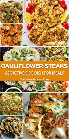 "Cauliflower Steaks: ""Addictive"" Side Dish For Meals Healthy Cooking, Healthy Dinner Recipes, Vegetarian Recipes, Cooking Recipes, Vegetarian Tapas, Healthy Food, Side Dish Recipes, Vegetable Recipes, Side Dishes"