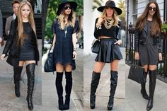 New flat thigh high boats outfit winter sweater dresses Ideas Thigh High Boots Outfit, Over The Knee Boot Outfit, Black Thigh High Boots, Knee Boots, Flat Boots, Office Fashion Women, Womens Fashion, Winter Sweater Dresses, Outfit Winter