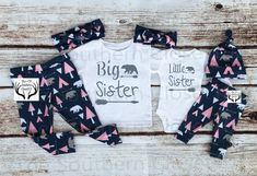 Big Sister Little Sister Outfits, Baby Girl Home Outfit Set, Country Outfits … - Baby Girl Outfits Matching Sister Outfits, Big Sister Outfits, Big Sister Little Sister, Little Girl Outfits, Cute Outfits For Kids, Little Sisters, Brother, Big Sister Pictures, Trendy Baby Girl Clothes