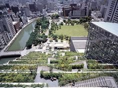 ACROS Fukuoka green roof. Location: Fukuoka City, Japan, Established: 1994 Size: over 100 000 sq.ft (14 terraces, 35 000 species) Accessible to the public: private access only.