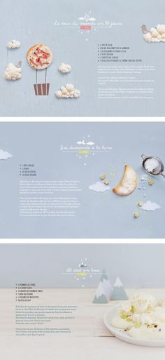Gourmet #website #design with soft colors. Photo styling - food. Combination of cut paper and 3D props.
