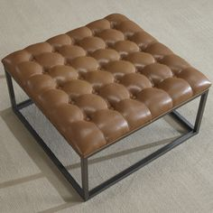 Healy Saddle Brown Leather Tufted Ottoman | Overstock.com Shopping - The Best Deals on Ottomans