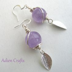 Amethyst Earrings Wire Wrapped Gift Boxed/ I am still looking for silver leaves like this in sterling. Any ideas?