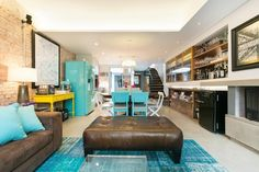 Turquoise over-dyed patchwork rug at Itaim Vila House by DTE Studio House Design, Living Room Tv Unit Designs, House Interior Decor, House, Interior Architecture, Home, Luxury Living, Interior Design News, Home Decor