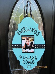 Welcome sign for Breakfast at Tiffany's Party (except I'd put a baby picture in the middle)