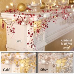 Lighted Berry-Beaded Holiday Garland