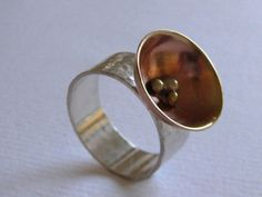 Sterling Silver and Copper Domed Ring.  Handmade Jewelry by ZaZing,