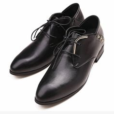 Black Leather High Heel Lace Up Wedding Prom Dress Oxford Shoes Men SKU-1100514
