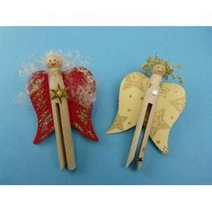 Bastelideen #Weihnachten Kinder | Einen #Engel mit einer #Rundkopfklammer basteln. Die Anleitung gibt es gratis: http://www.trendmarkt24.de/bastelideen.bastelideen-weihnachten-kinder.html#p