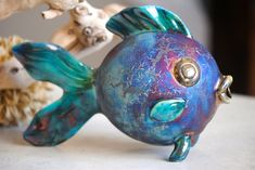 Colorful Raku Pottery Fish - Crafting Couture