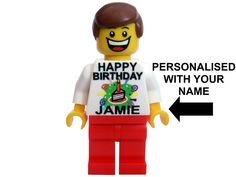 LEGO boy man HAPPY BIRTHDAY mini figure PERSONALISED WITH NAME OF YOUR CHOICE - Minifigure built from New Lego parts. Great gift alternative to a birthday card.: Amazon.co.uk: Toys & Games