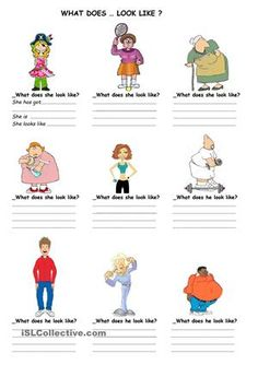 ...enables to practice describing people by looking at the pictures and writing down what they are like..! - ESL worksheets
