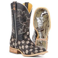 73afa684232 Tin Haul Men s Gun Metal Check Western Boots