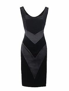 Yanny London Velvet and silk satin panelled dress