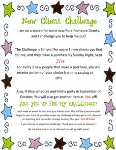 WHO Will Accept this Challenge?? I am Looking for NEW Customers For My Business With Pure Romance Home Parties, and I really Could use your HELP! Flyer Explaining how it works.  Thank you  Melanie Mellott Your Personal Pure Romance Consultant 814 623 0999 www.pureromance.com/melaniemellott
