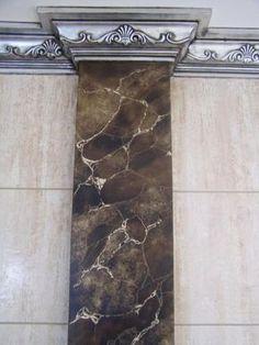 Faux Painting Techniques, Concrete Wall Texture, Classic House Design, Interior Columns, Column Design, Marble Painting, Tadelakt, Marble Wall, Marble Effect