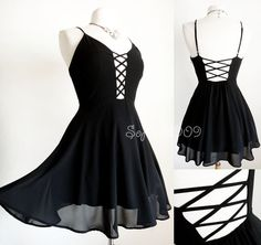 NEW Black Strappy Crisscross Caged Front Back Plunge Cutout Chiffon Skater Dress #Unknown #StrappyCageSkaterDress #Casual