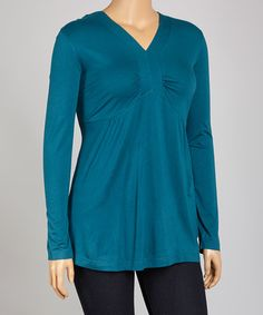 Love this Teal Pleated V-Neck Top - Plus by La Cera on #zulily! #zulilyfinds